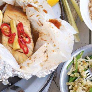 Lemongrass fish parcels with shredded cabbage salad