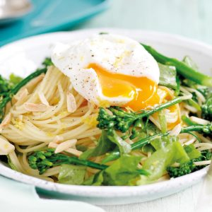 Lemony pasta with poached eggs