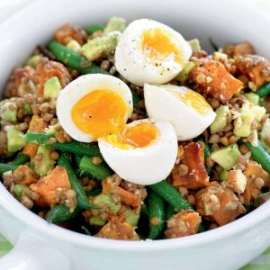 Lentil and avocado salad with soft-boiled eggs