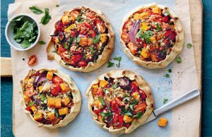 Lentil, roasted pumpkin and ricotta open pies