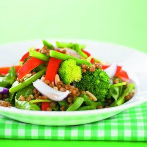 Lentil, vege and tuna salad