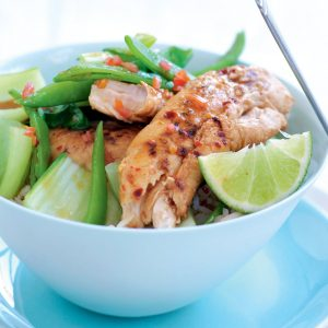 Lime and chilli chicken with wilted greens