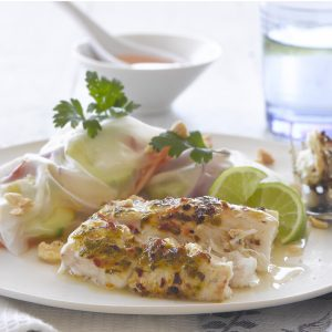 Lime fish with chilli vegetable rolls