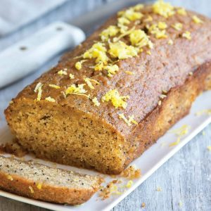 Low-FODMAP lemon and poppy seed loaf