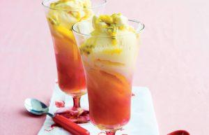 Mango and passionfruit ice cream sundaes