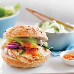 Mango chicken burgers