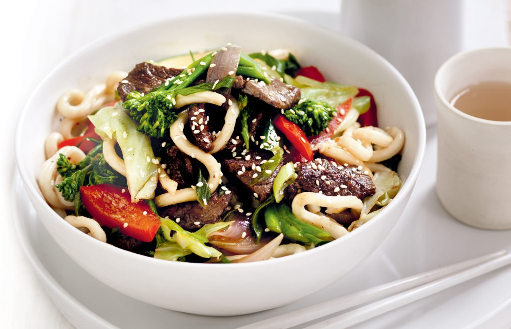 Maple-soy beef with udon noodles and vegetables