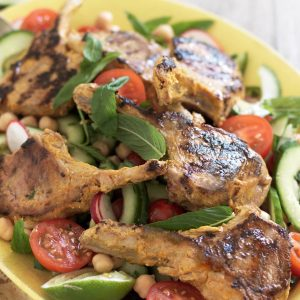 Marinated lamb cutlets with minty salad