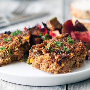 Meat loaf with roasted veges