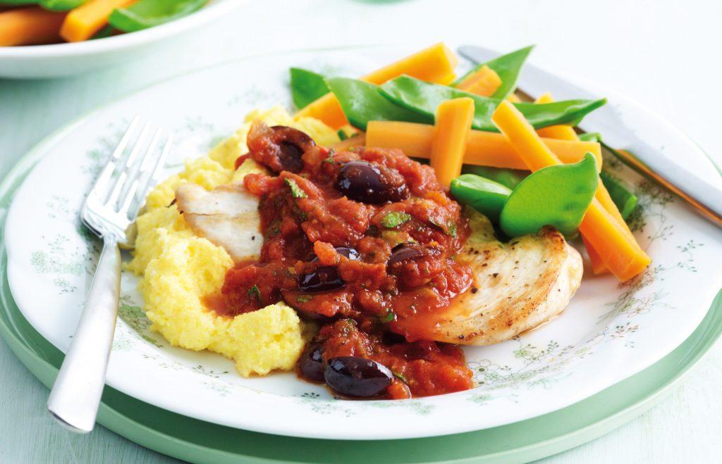 Mediterranean chicken with polenta