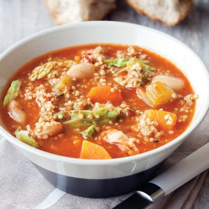 Mediterranean vege and quinoa soup
