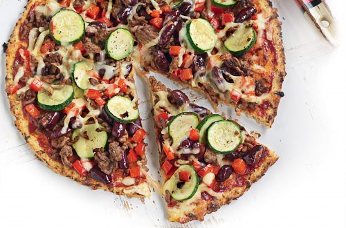 Mexican beef and bean pizza with avocado salsa