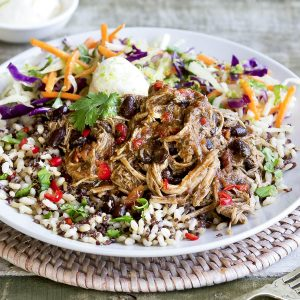 Mexican pulled pork with chipotle slaw
