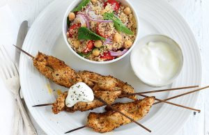 Middle Eastern chicken skewers with couscous
