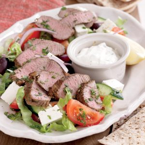 Minted lamb with Greek salad and tzatziki