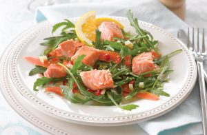 Miso-glazed salmon salad with sesame citrus dressing
