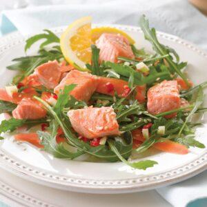 Miso-glazed salmon salad with sesame citrus dressing