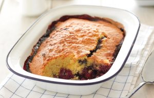 Mixed berry and almond pudding