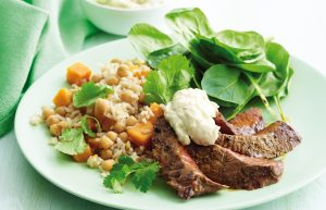 Moroccan beef with golden kumara rice