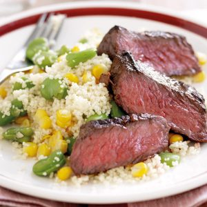 Moroccan beef with vege couscous