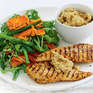 Moroccan chicken with chickpea dip and grilled carrot salad