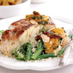 Moroccan fish fillets with orange and date salad