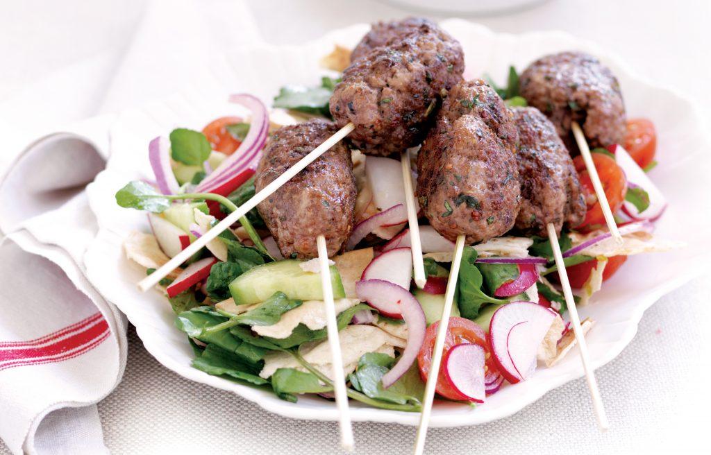 Moroccan lamb koftas and Turkish chopped salad