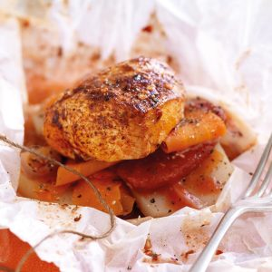 Moroccan-scented baked chicken