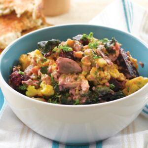 Mushroom and silver beet vege scramble