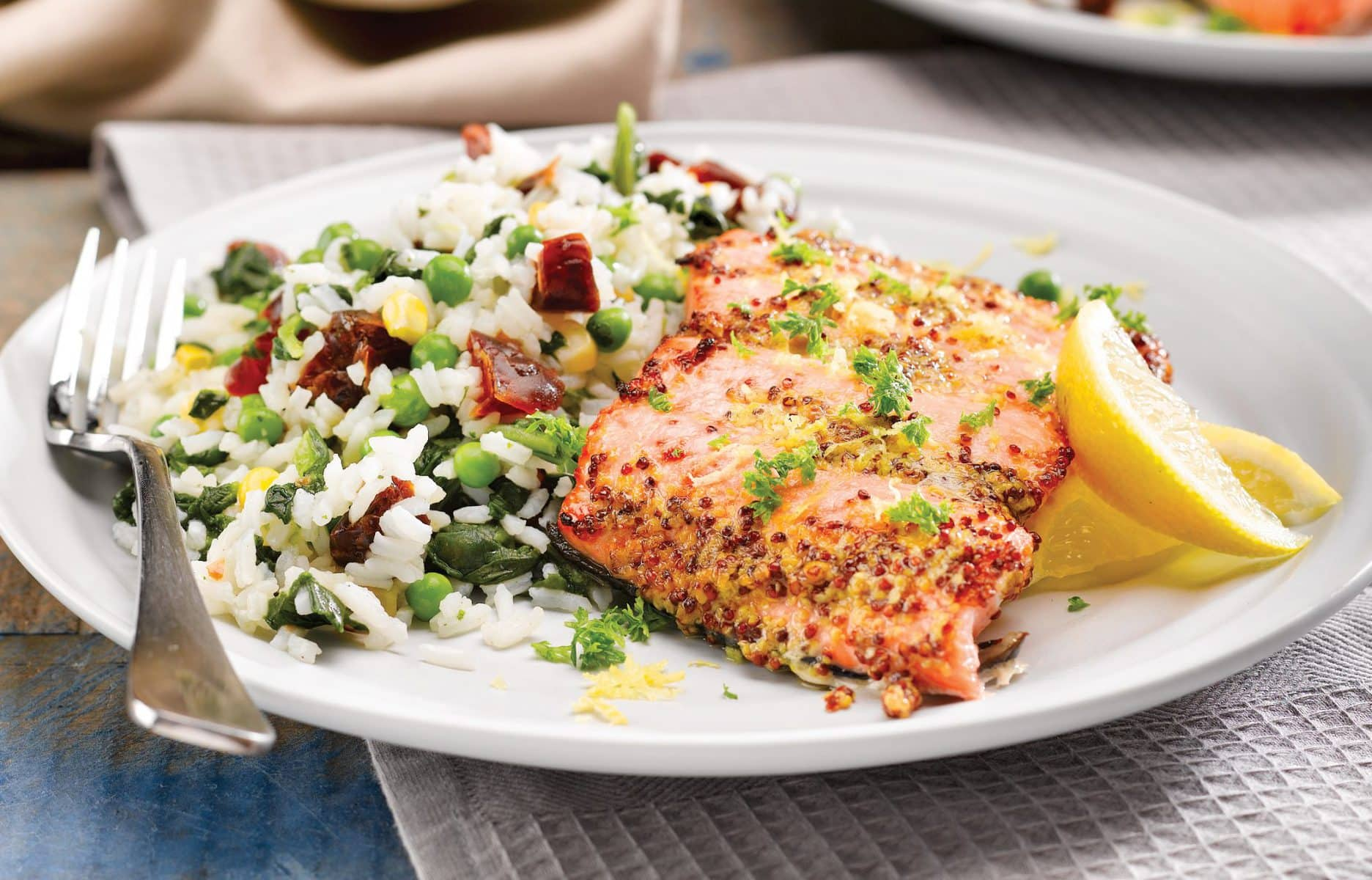 Mustard salmon with vegetable pilaf