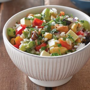 Nut and veg rice salad