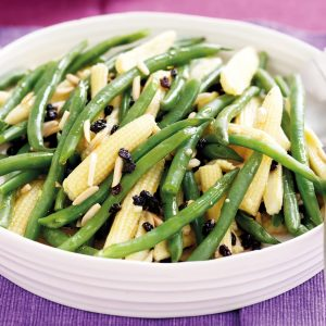 Nutty beans and baby corn with currants