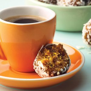 Orange, apricot and cashew bliss balls