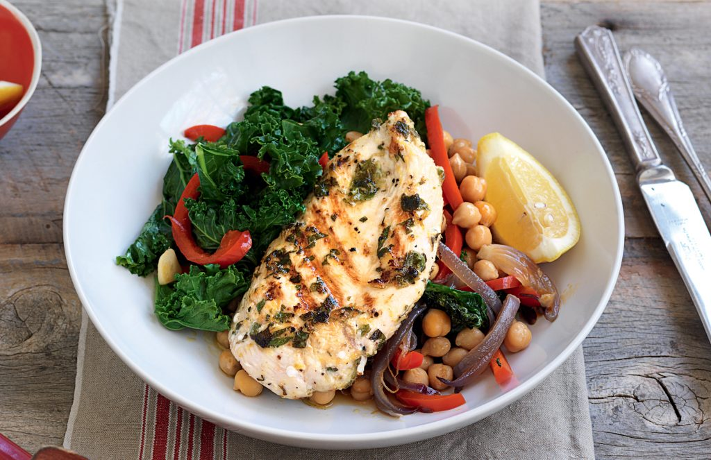 Oregano and lemon chicken with kale and chickpeas