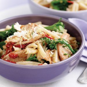 Pasta with chicken, broccolini, roasted capsicum, lemon and feta