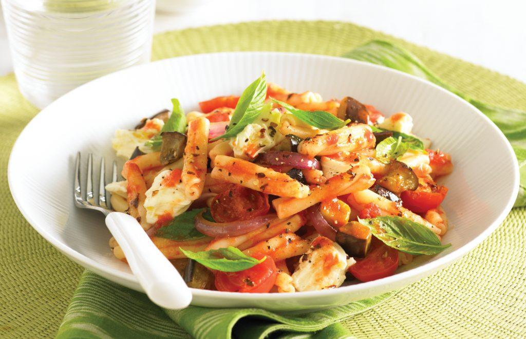 Pasta with eggplant, tomato, chilli and feta