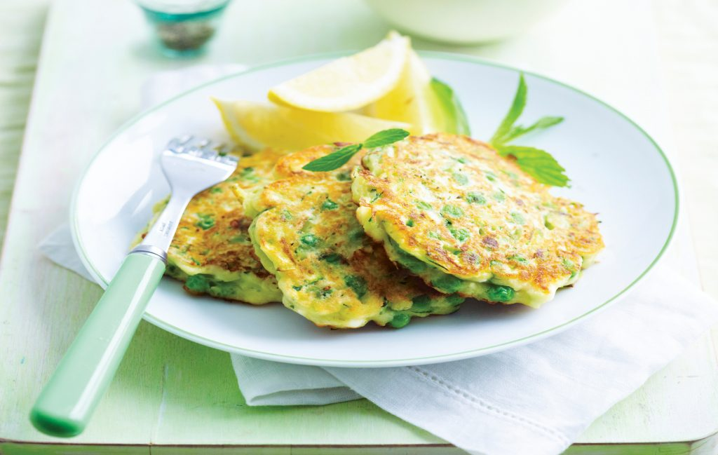 Green pea, feta and mint fritters