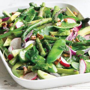 Pea, asparagus and avocado lemon salad