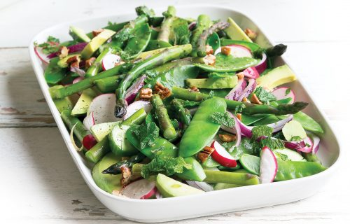Pea, asparagus and avocado lemon salad