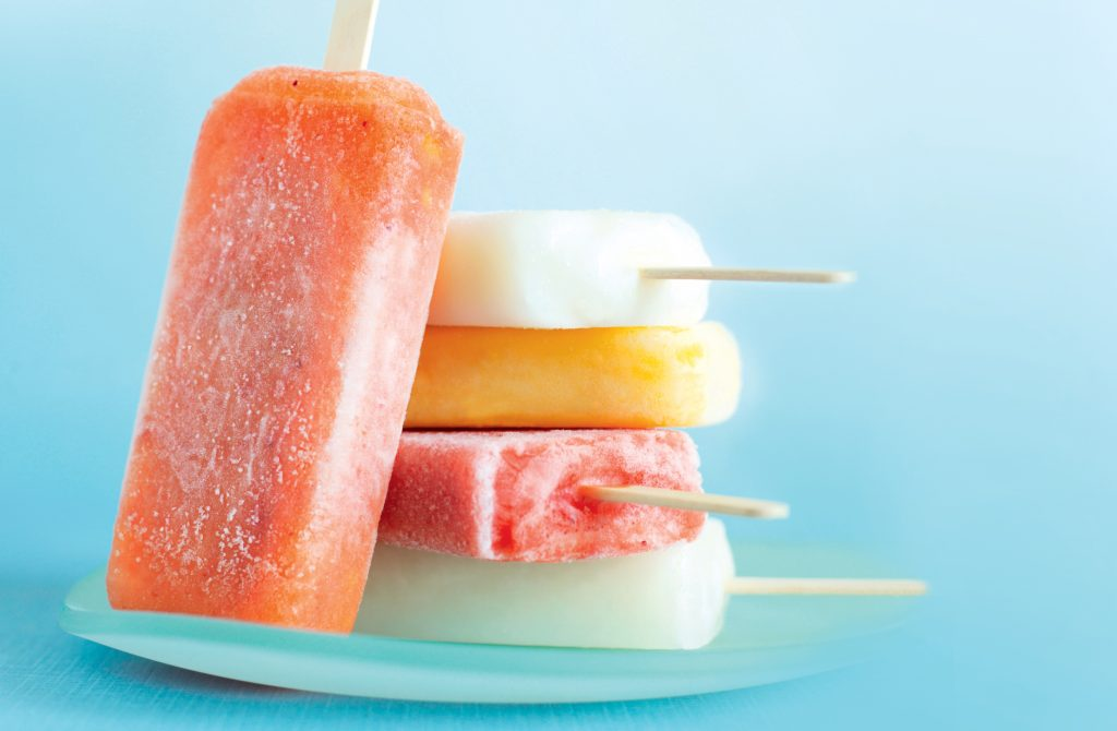 Peach and strawberry popsicles