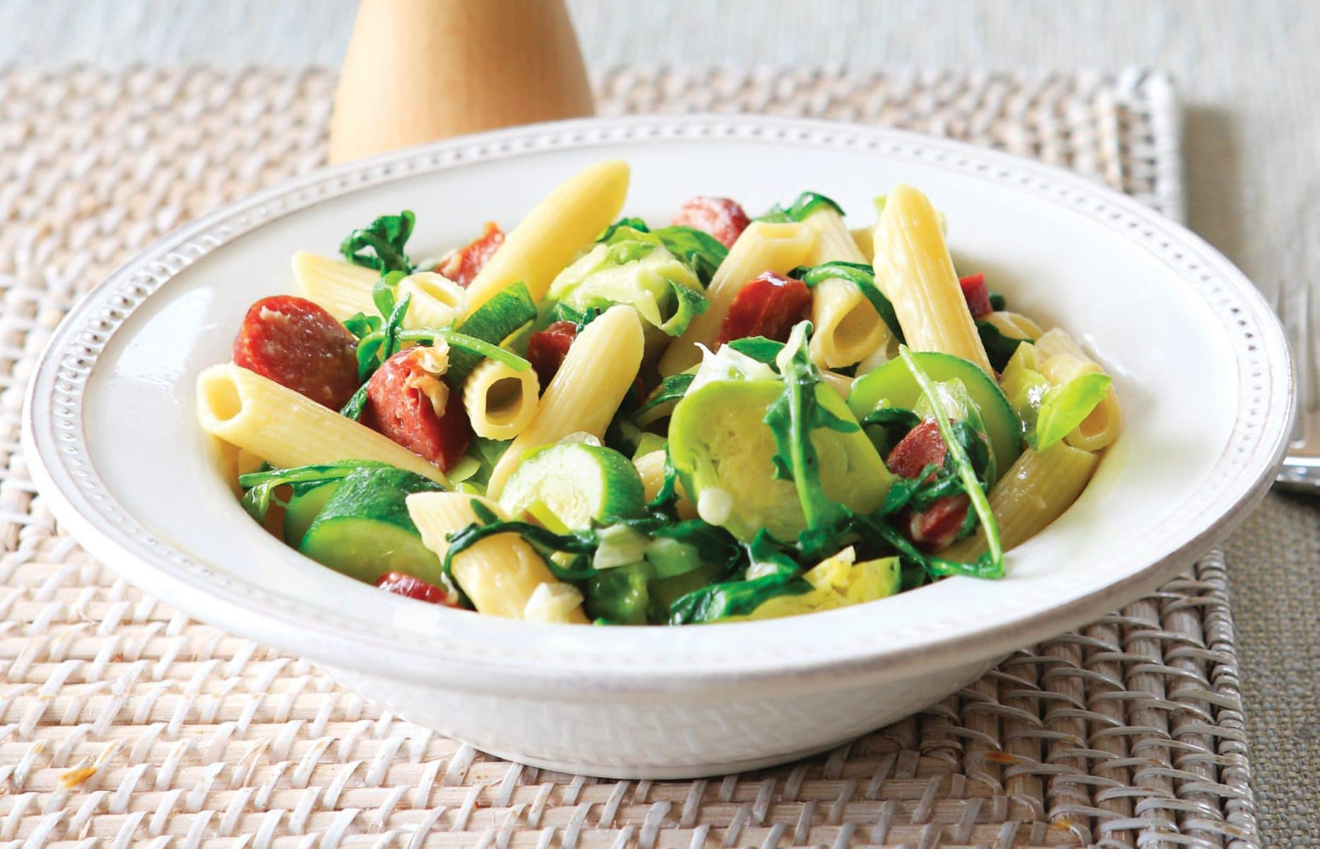 Penne with spicy sausage and Brussels sprouts