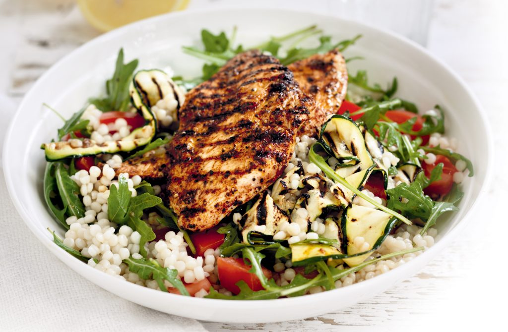 Pepper chicken with pearl couscous salad