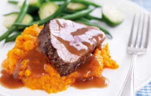 Peppered beef fillet with pumpkin and thyme mash