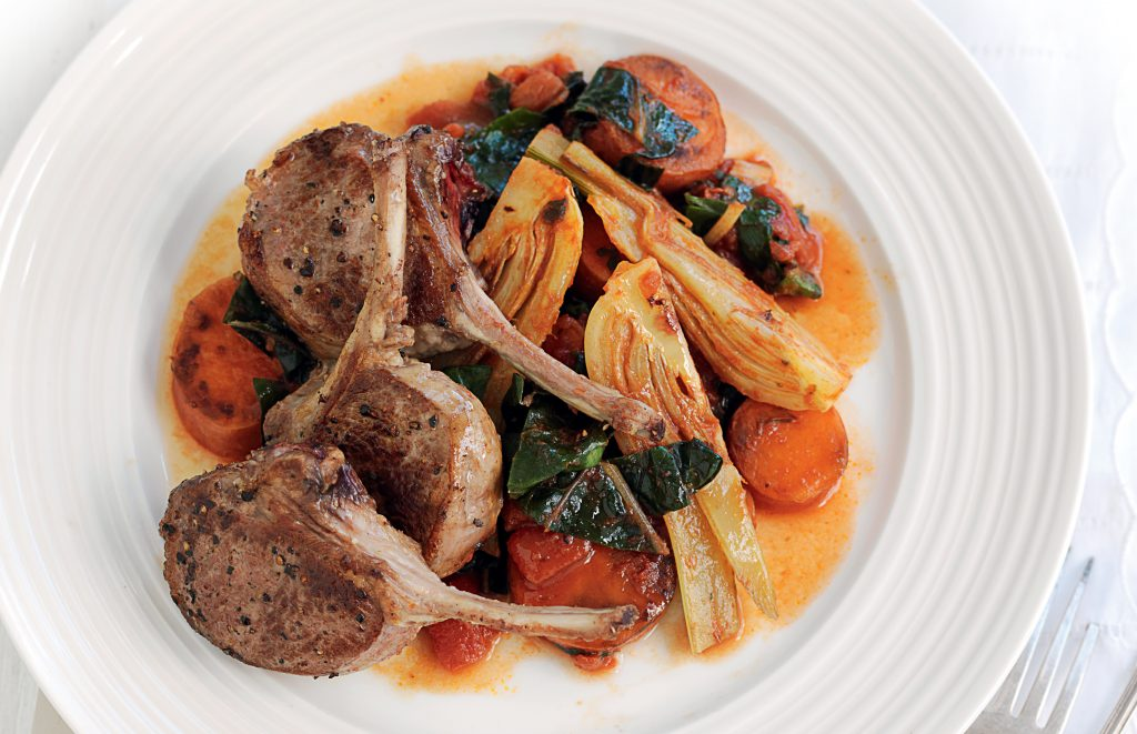 Peppered lamb with braised autumn veges