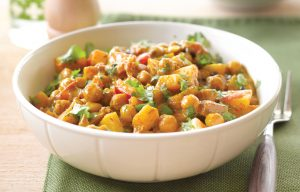 Peppery chickpea and potato curry