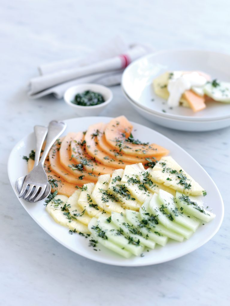 Pineapple and melon with mint sugar