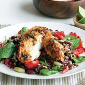 Piri piri chicken with rice and quinoa salad