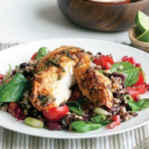 Piri piri chicken with rice and quinoa salad