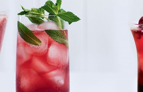 Pomegranate and rosewater spritz