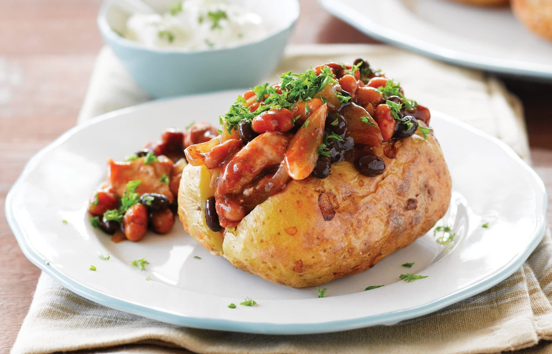 Pork and bean jacket potatoes